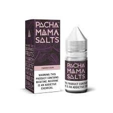 Pacha Mama Salts Starfruit Grape black and purple box and 30ML plastic bottle.