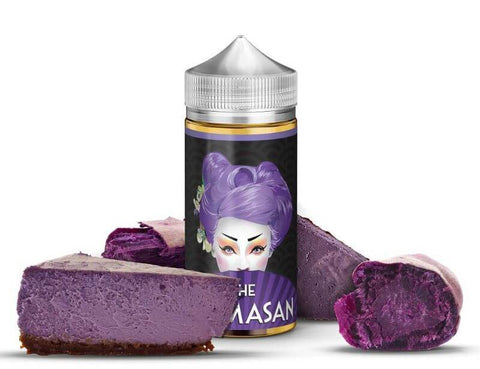 Mamasan - Purple Cheesecake - 100ML Vape Juice - 100ML plastic bottle with black label with purple-haired lady, surrounded by several slices of purple cheesecake.