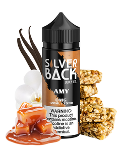 Silverback - Amy - 120ML Vape Juice - 120ML black plastic bottle with a black and brown label, surrounded by peanut brittle, gooey caramel pieces, and vanilla flowers.