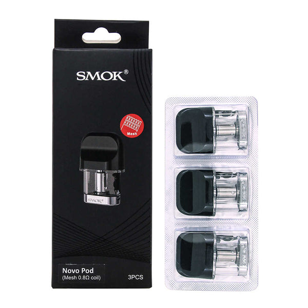 Smok - Novo - Replacement Pods - Mesh 0.8ohm tall back box with strip of 3 pods standing beside it.