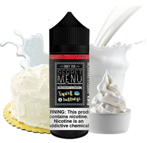 Secret Menu - Sweet Nothings - 100ML Vape Juice - Tres Leches three layered cake milk plastic bottle