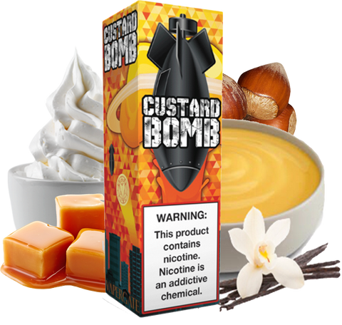 Vapergate - Custard Bomb - 120ML Vape Juice - Vanilla Custard Caramel Nuts Plastic Bottle