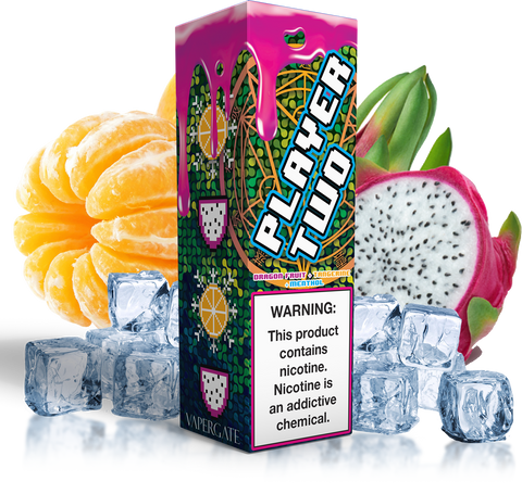 Vapergate - Player Two - 120ML Vape Juice - Plastic Bottle with Dragon Fruit Tangerine Menthol