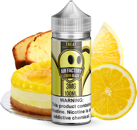 Air Factory Lemon Glaze 100ML plastic bottle surrounded a lemon pastry, lemon poundcake slices, and lemons.