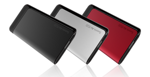 Suorin - Air Plus - Pod System - Three Suorin Air Plus devices presented diagonally in a row from left to right in black, white, and red.