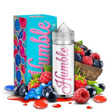 Humble - Berry Blow Doe - 120ML Vape Juice - 120ML plastic bottle and its box surrounded by raspberries and blueberries.