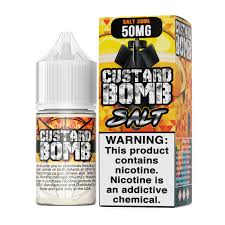 Vapergate Salts - Custard Bomb - 30ML Vape Juice - Red and orange box and 30ML plastic bottle sitting beside each other.