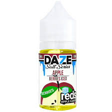 Daze Reds Apple Salts Berries Iced 30ML plastic bottle.
