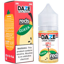 Daze Reds Apple Salts Guava red box and 30ML plastic bottle.
