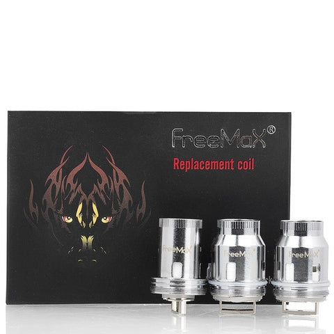 Freemax Mesh Pro Replacement Coils black box with three different coils standing in a row in front.