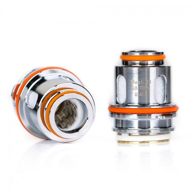 Geek Vape - Zeus - Mesh Z Coils - one standing Z1 coil and one laid on its side.