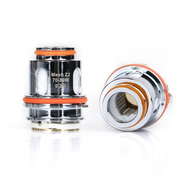 Geek Vape - Zeus - Mesh Z Coils - one standing Z2 coil and one laid on its side.