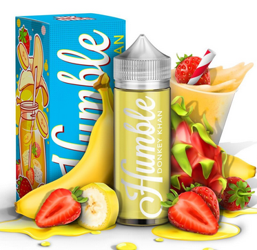 Humble - Donkey Kahn - 120ML Vape Juice - 120ML plastic bottle surrounded by its box, banana and strawberries.