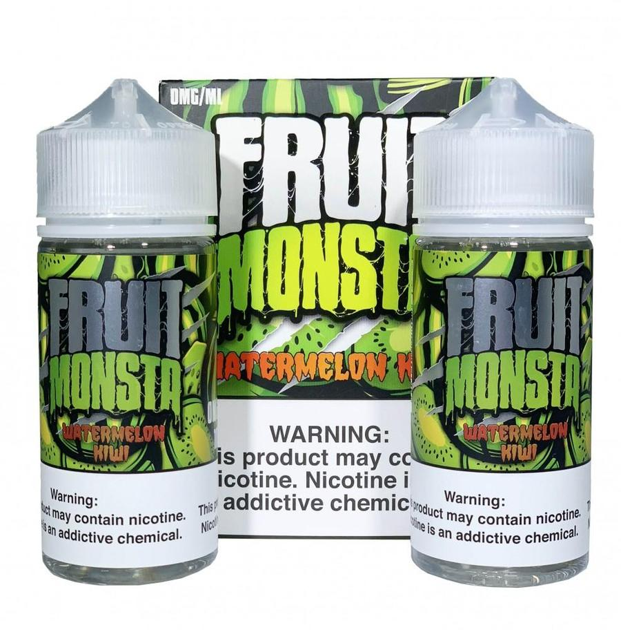 Fruit Monsta Watermelon Kiwi 2 X 100ML plastic bottle and the box they go in.