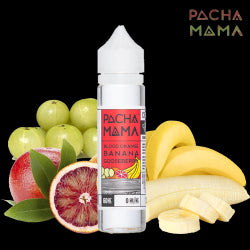 Pacha Mama Blood Orange Banana Gooseberry 60ML plastic bottle with a red label surrounded by sliced blood orange and bananas and gooseberries.