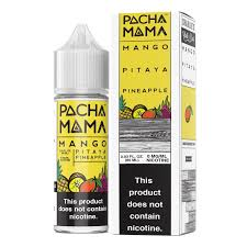 Pacha Mama Mango Pitaya Pineapple 60ML plastic bottle and box with a yellow label.
