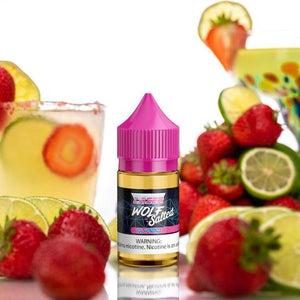 Lazer Wolf Salts - Turbo - 30ML Vape Juice - 30ML plastic bottle surrounded by strawberries, lime, and a glass of juice,