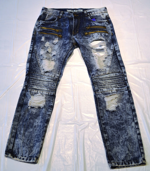 Ripped Jeans With Zips - Blue