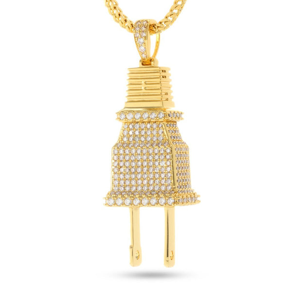 14K Gold CZ Plug Necklace