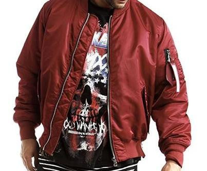 MA1 Nylon Side Zipper Bomber Flight Jacket - Red