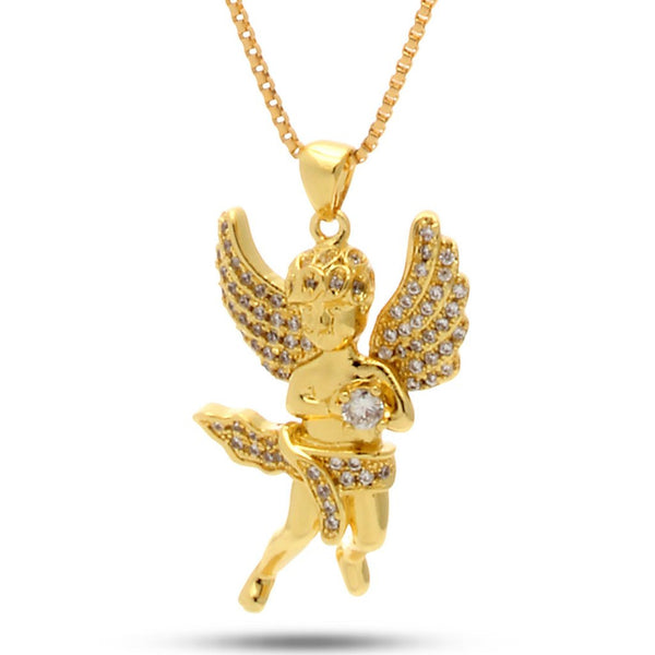 14K Gold CZ Mini Angel Necklace
