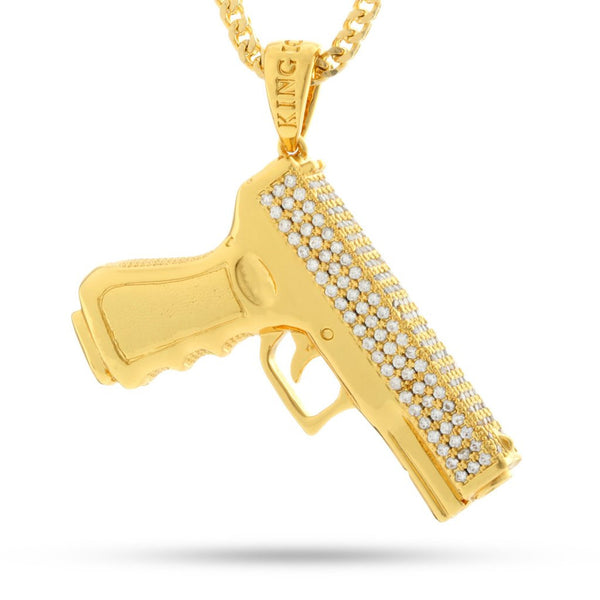 14K Gold Handgun Necklace