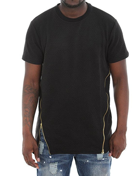 Quilt Elongated T-Shirt With Double Zips - Black