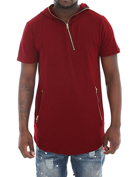 Short Sleeve Longline Fishtail Hoodie Shirt - Red