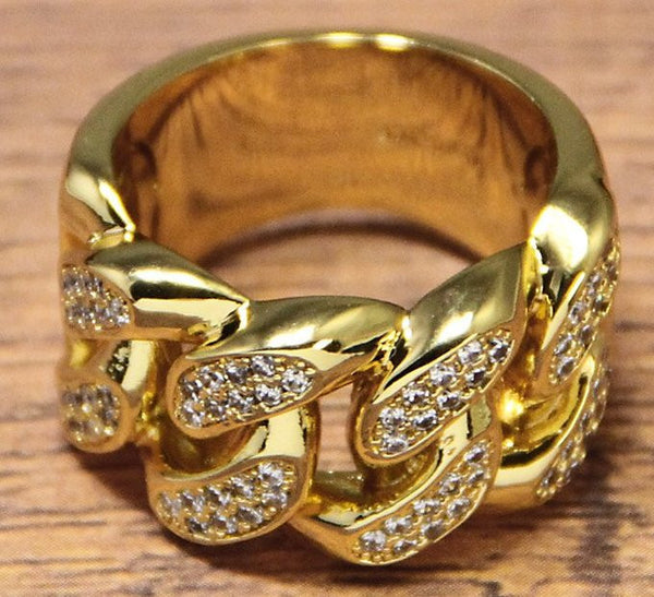 14K Gold Curb Chain Style Ring