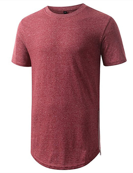 Longline Side Zips T-Shirt - Marled Red