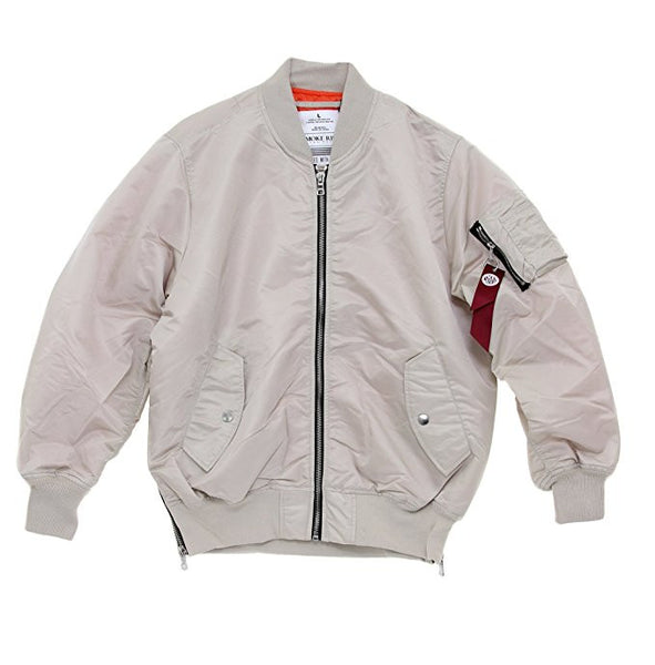 MA1 Nylon Side Zipper Bomber Flight Jacket - Bone
