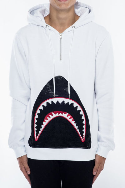Killer Shark 3/4 Zip Hoodie - White