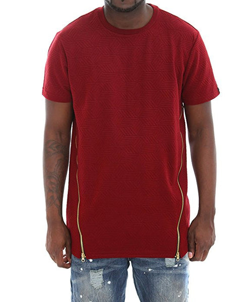 Quilt Elongated T-Shirt With Double Zips - Red