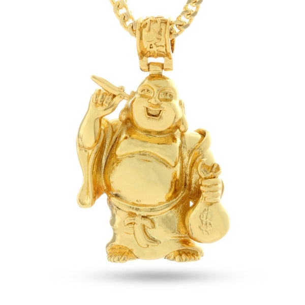 14K Gold Laughing Buddha Necklace