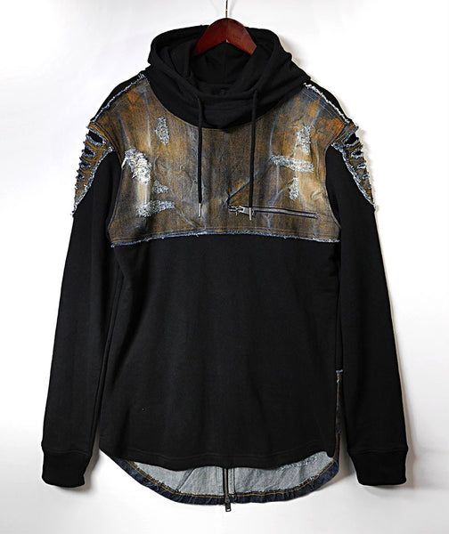 Denim Patched Long Sleeve Hoodie - Black