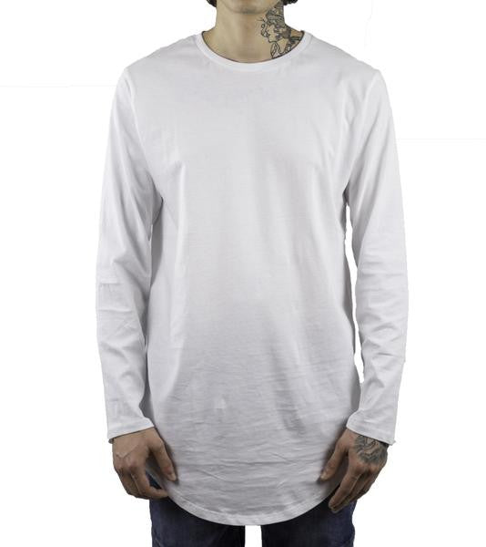 Elongated L/S Scoop T-Shirt - White