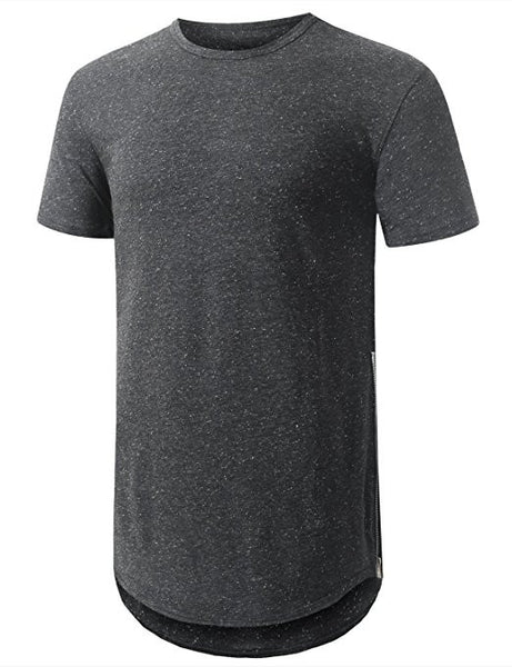 Longline Side Zips T-Shirt - Marled Black