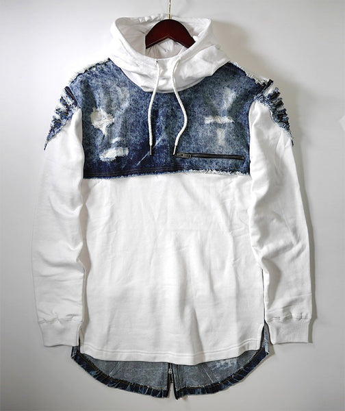 Denim Patched Long Sleeve Hoodie - White