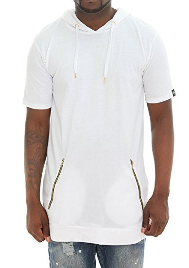 Back Zip Short Sleeve Longline Hoodie Shirt - White