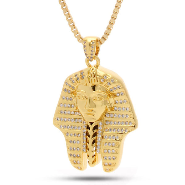 14K Gold Egyptian Pharaoh CZ Necklace
