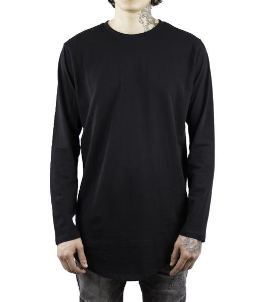 Elongated L/S Scoop T-Shirt - Black