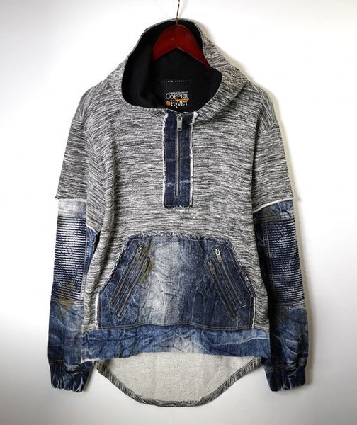 Triple Layered Hoodie With Denim Sleeves - Blue