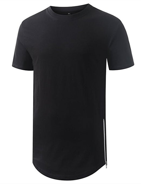 Longline Side Zips T-Shirt - Black