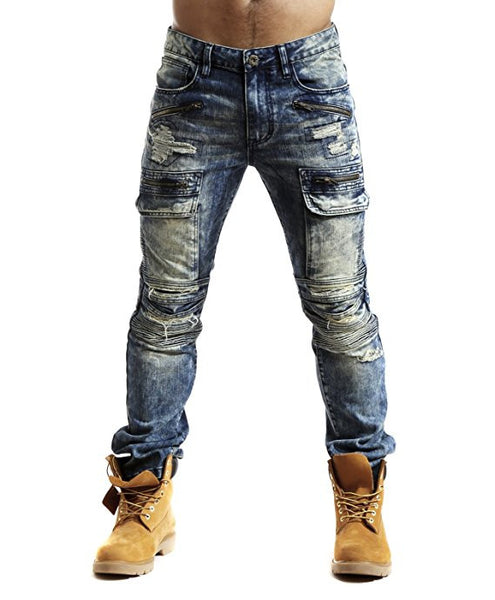Slim Ripped Stretch Moto Biker Cargo Jeans - Med Blue