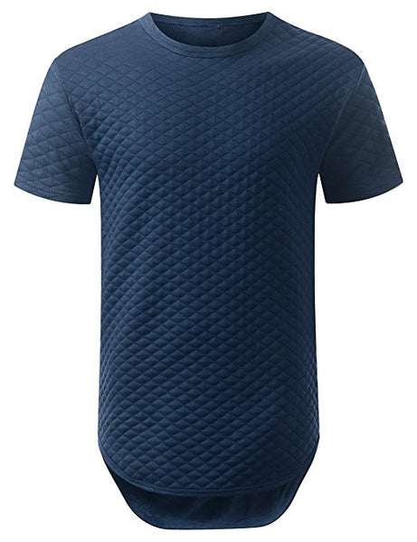Quilted Longline T-Shirt - Navy