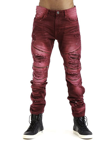 Twill Biker Pants With Zipper - Red
