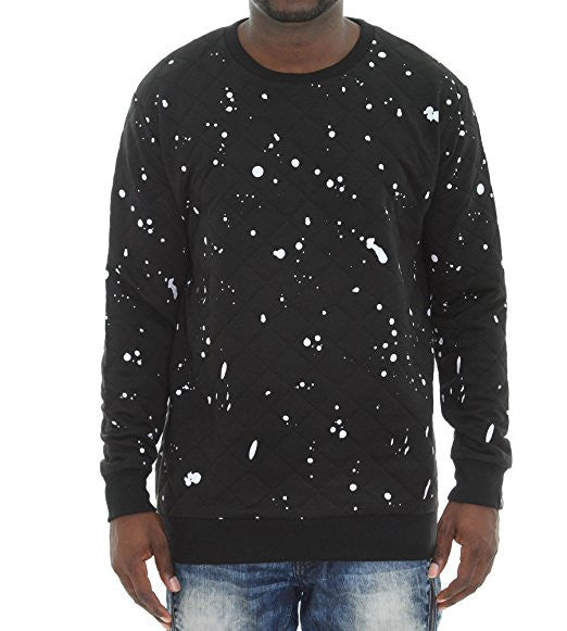 Diamond Quilt Paint Splatter Side Zippers Sweater - Black
