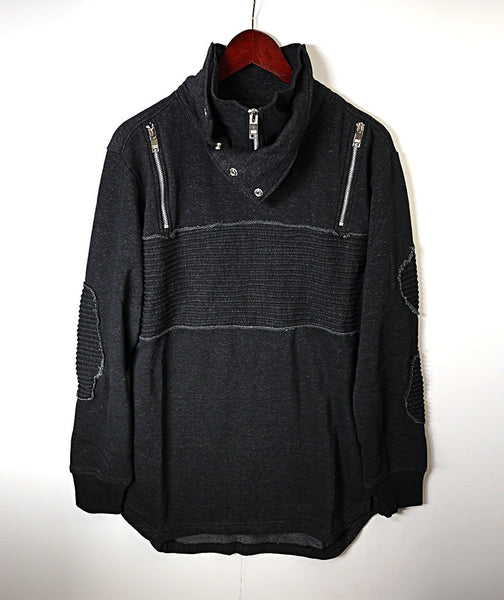 Sweater With Zips & Patches - Black