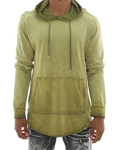 Long Sleeve Scallop Longline Hoodie T Shirt - Olive