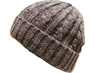 Thick Cable Beanie - Brown